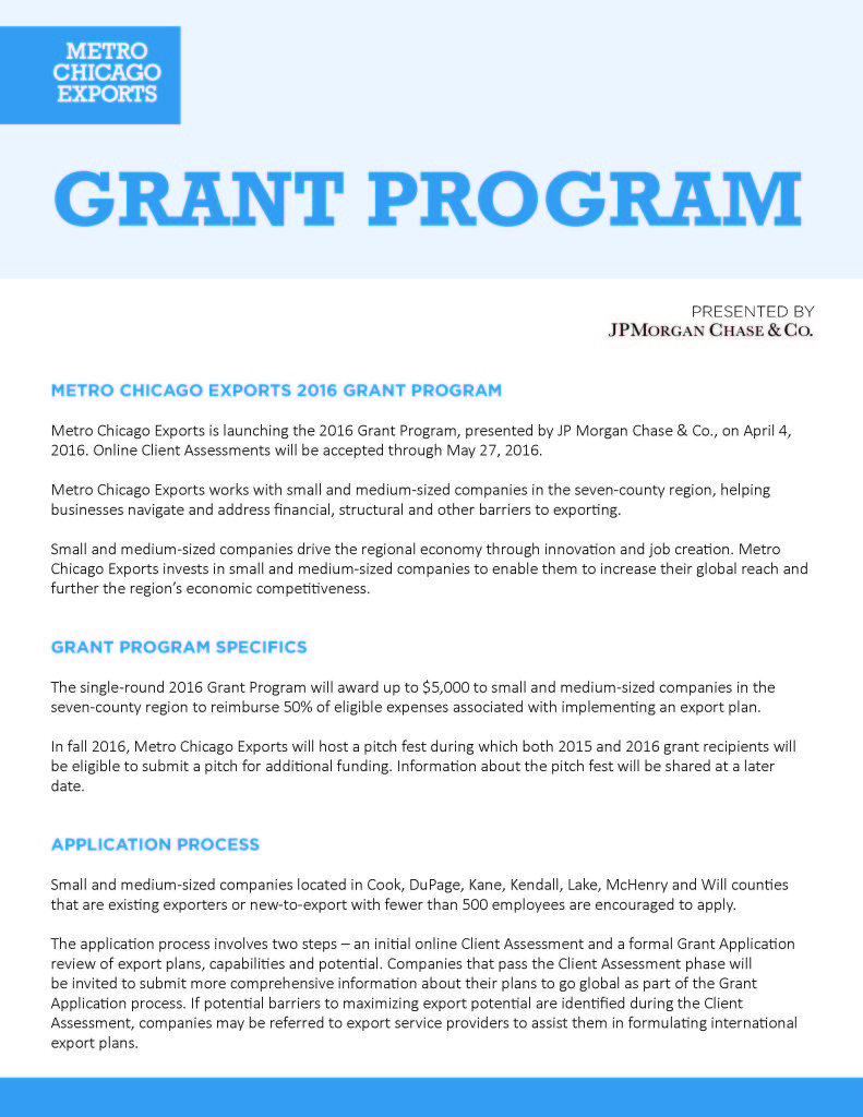 REDC - Metro Chicago Exports Grant Application Page_1